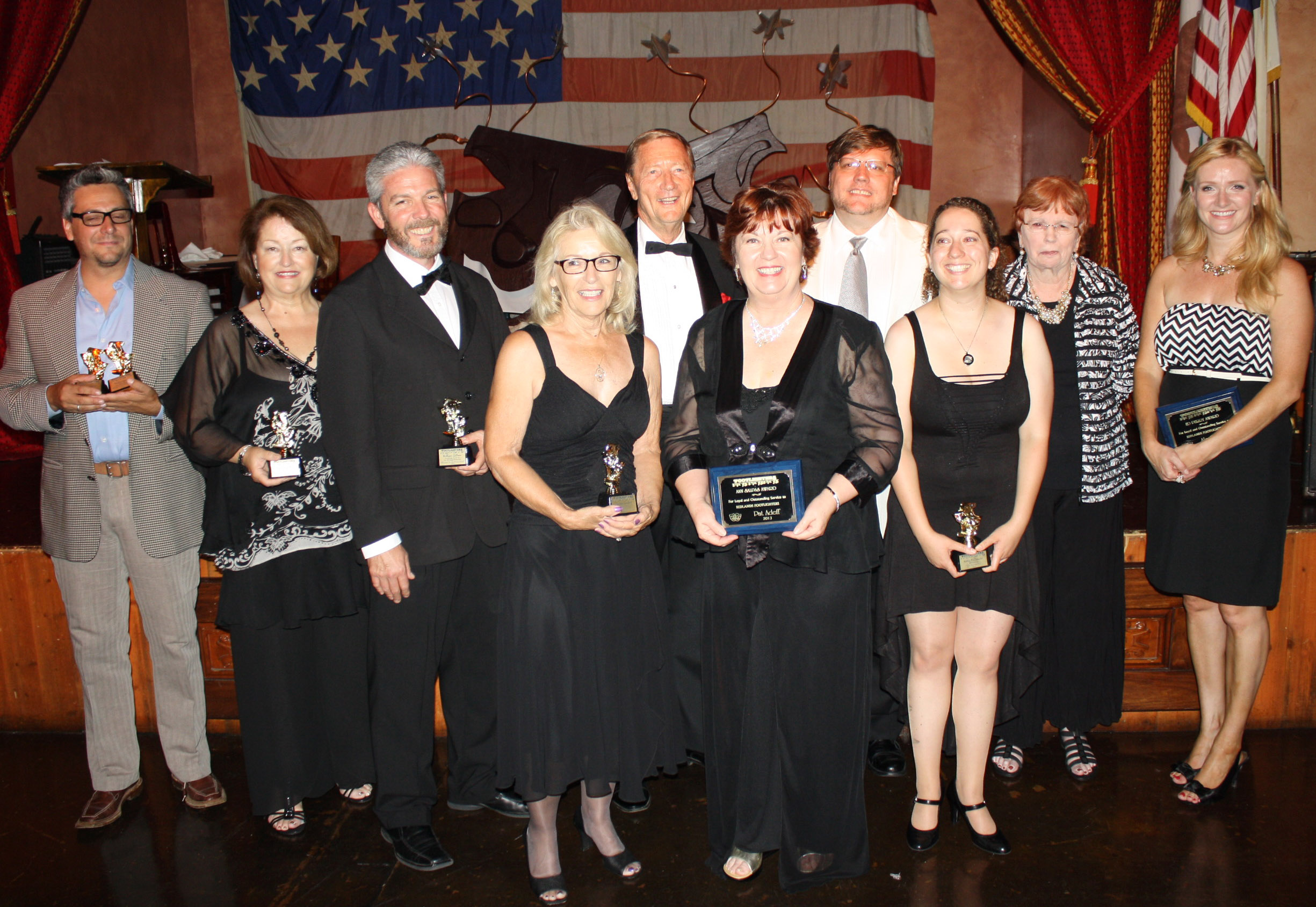 Winners at the Footlighters banquet on June 30th.  From left to right: Phillip Gabriel. Mary Carruthers, William Gillean, Pamela Lambert, Eric Gruenler, Pat Adeff, Tom Hurst, Kellie McDonald, Carol Steele, and Ali Rafter.
