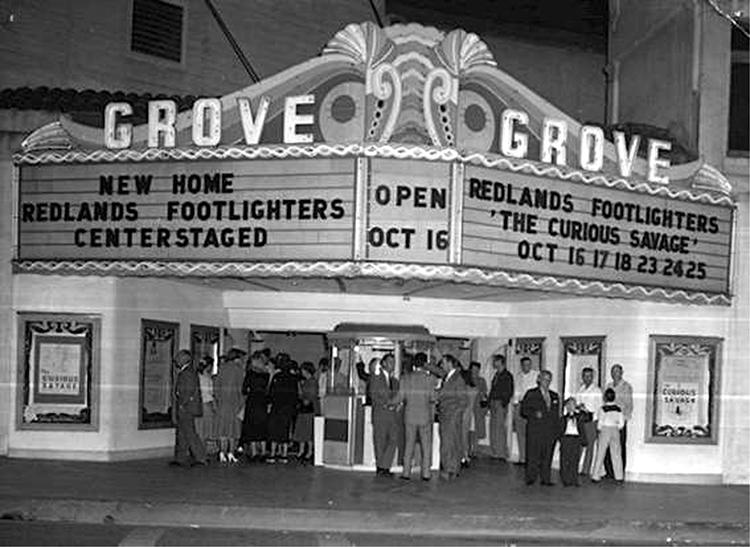 Opening night for The Curious Savage at the Grove Theatre in downtown Redlands, 1952.
