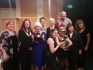 Playwright Paul  Elliott joined the cast and crew on stage after Saturday's performance of Exit Laughing.