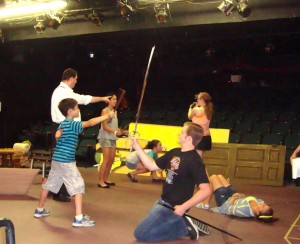 Actors rehearse for The Quest, performed July 25-27, 2013, as part of the Summer Youth Workshop.