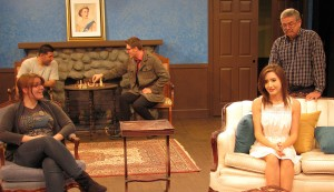 "Cody Michael Perry, Mike Hanrahan, and Sabrina Foley rehearse for ""The Univited,"" opening at Redlands Footlighters November 7."