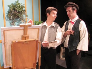 "JD Wiese, playing painter Jean-Francois Millet, and Mike Detrow, as Millet's friend Chicago, rehearse for ""Is He Dead?"", opening at Redlands Footlighters March 6."