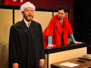 Amanda Walker as Romaine and William Gillean as Sir Wilfred Robarts in Witness for the Prosecution.