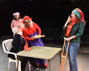 "Rehearsal for ""The Farndale Avenue ... A Christmas Carol"" at Redlands Footlighters.  Left to right: Dani Hernandez, Autumn Earl Rodriguez, Smaran Harihar, Catherine Soto."